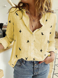 Casual Loose Animal Print Long Sleeves Linen Cotton Blouse For Women