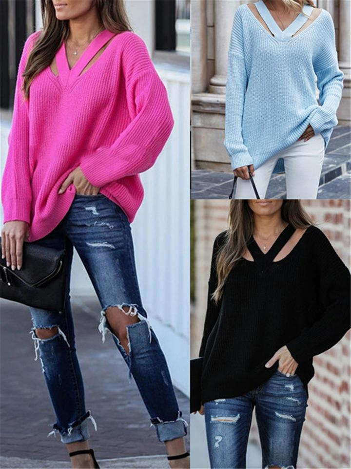 Comfy V Neck Cutout Detail Solid Color Sweater