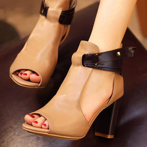 Women's Spring Summer High Heel Fish Mouth Sandals