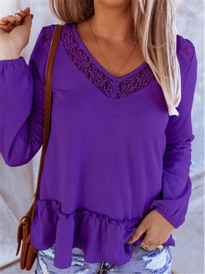 Fashion Casual Lace Splice V Neck Knitt Tops