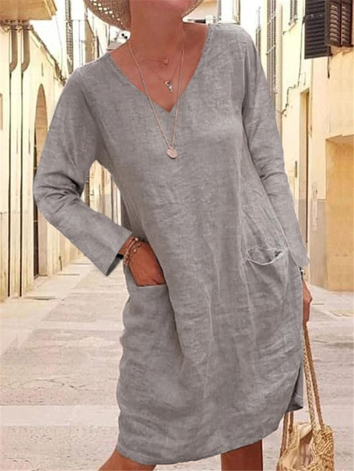 Solid Color V Neck Linen Pocket Midi Dress