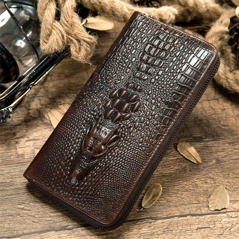 Men's Multifunctional Crocodile Print Business Long Wallet