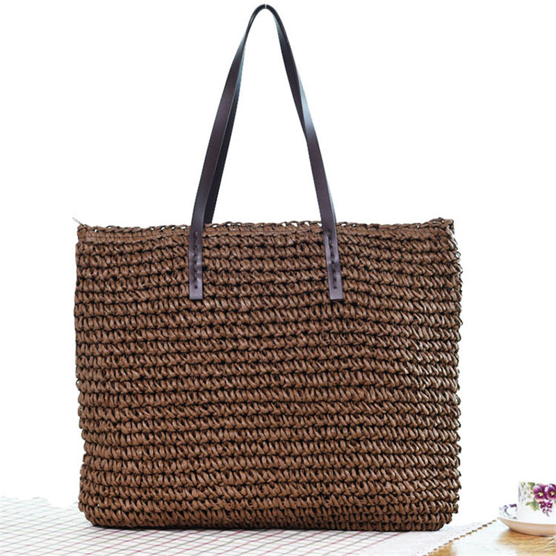 Women's Summer Beach Handmade Straw Woven Knitted Handbags