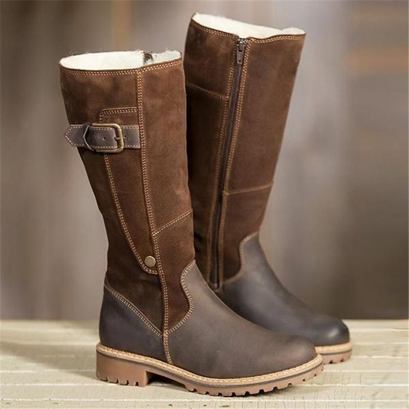 Warm Ladies Snow Boots High Boots Leather Winter Flats Boots
