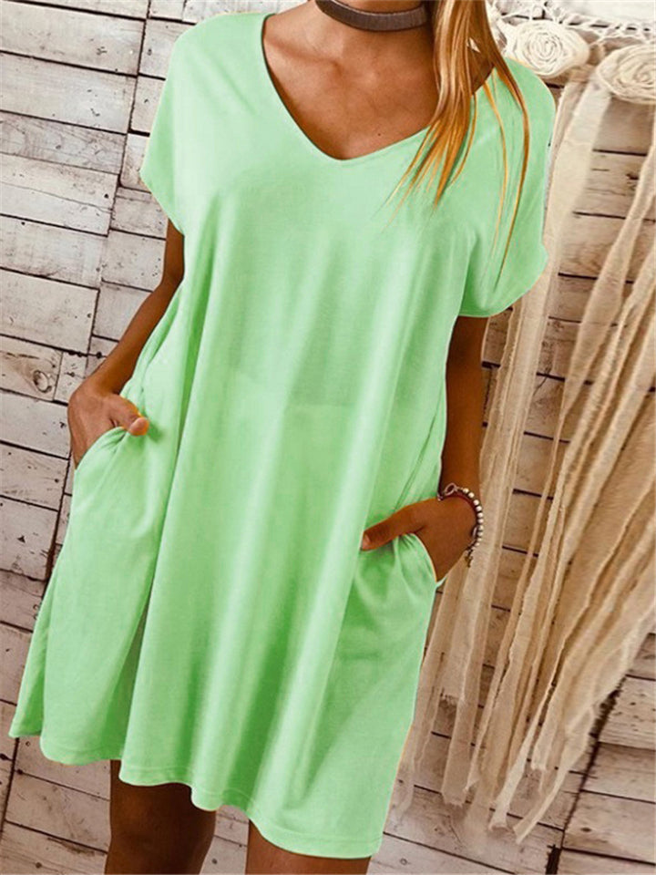 Soft Touch V Neck Solid Color Short Sleeve Pocket Pullover Dress
