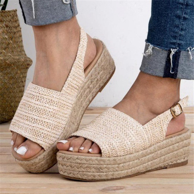 Women Peep Toe Comfy Casual Buckle Strap Platform Sandals