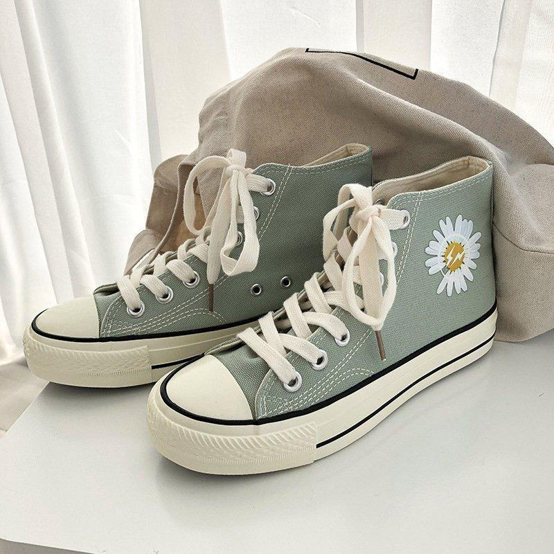 Cute Daisy Printing High-top Canvas Shoes For Women