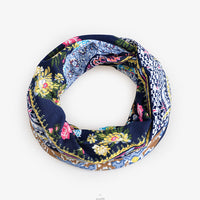 Cute Floral Printed Dual-Use Cotton Cap Scarf