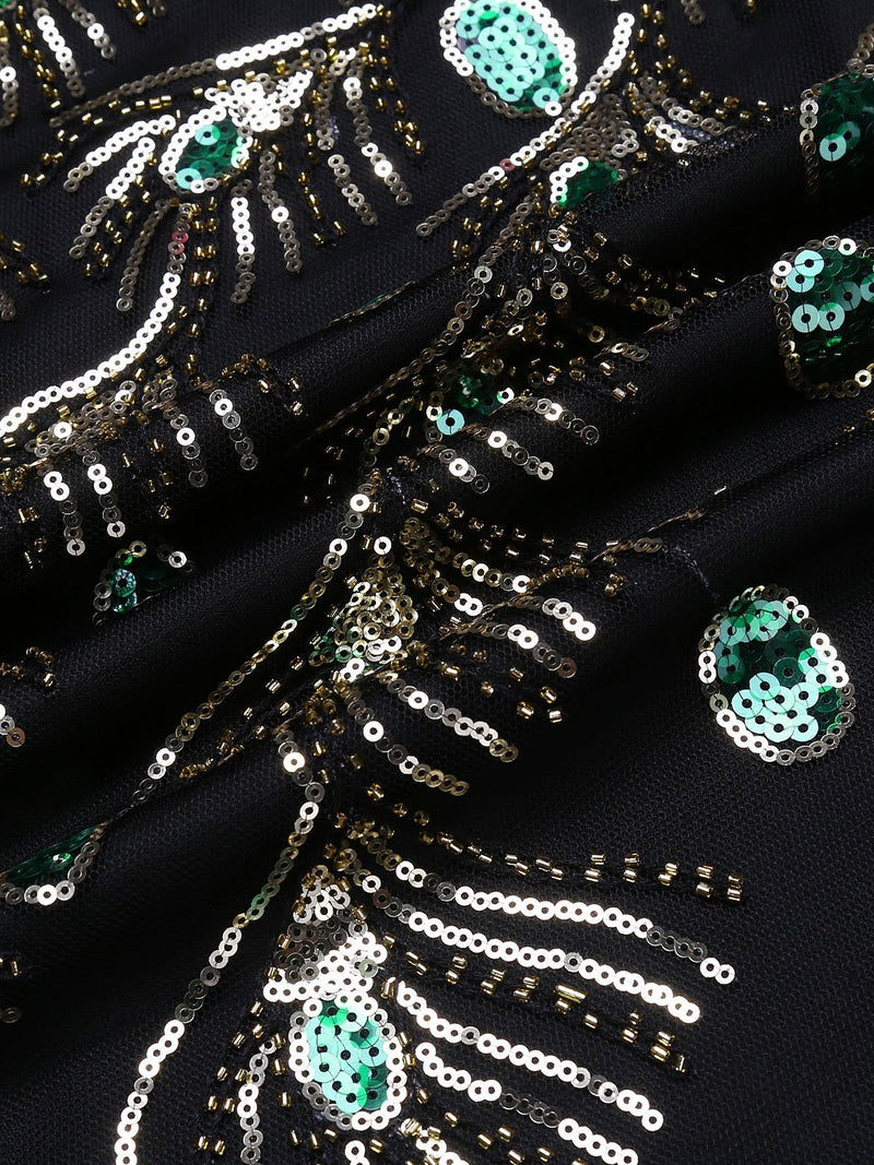 Black 1920s Sequin Flapper Dress