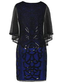 1920s Sequin Beads Cape Dress