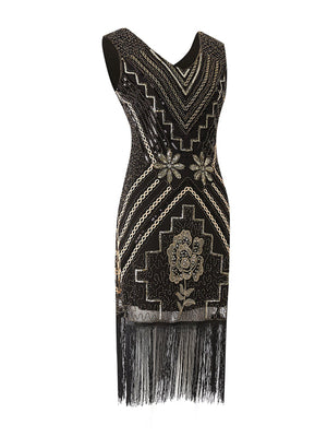 1920s Sequined Fringe Flapper Dress