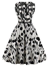 Black White 1950s Belted Pendulum Dress