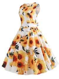 Yellow And White 1950s Sunflowers Dress
