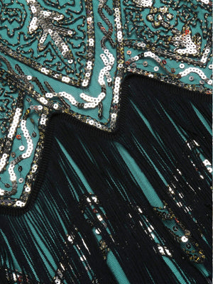 Green 1920s Beaded Fringed Dress
