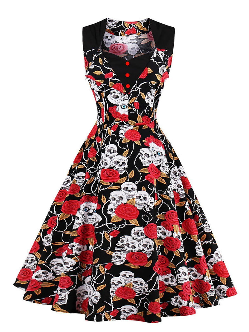 Black 1950s Skull Square Neck Dress