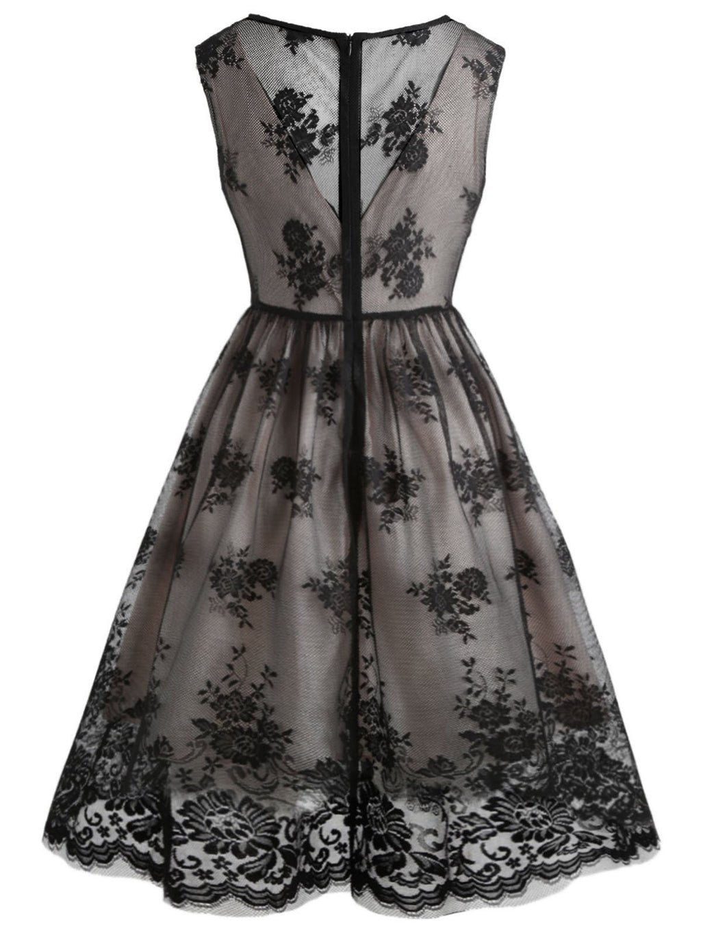 Black 1950s Lace Floral Swing Dress