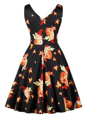 Black 1950s Cat Leaf Swing Dress