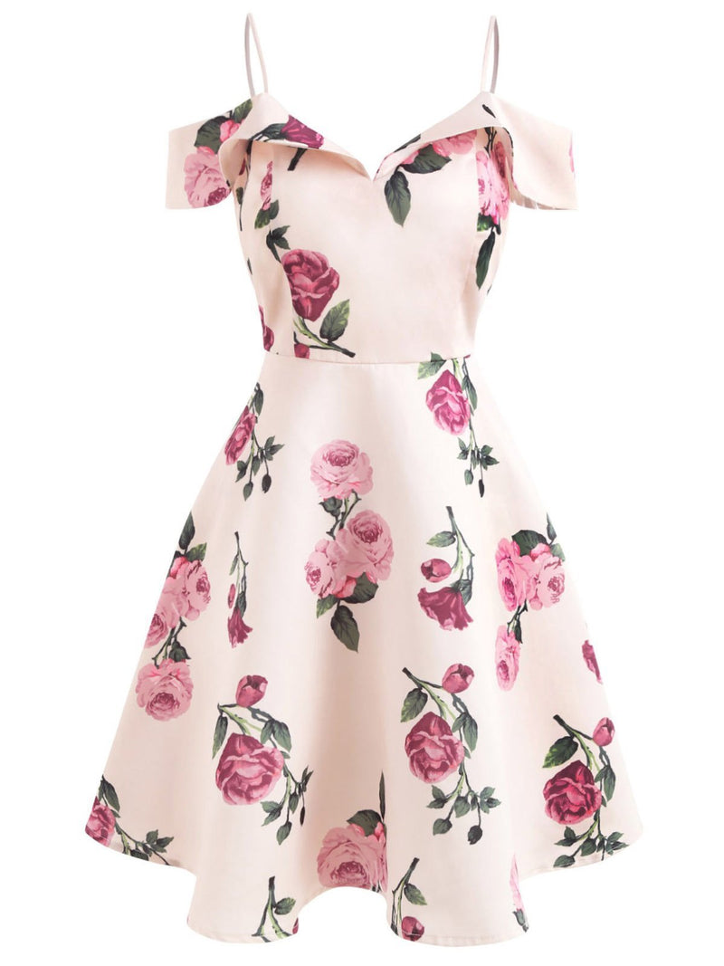 Pink 1950s Floral Spaghetti Strip Dress