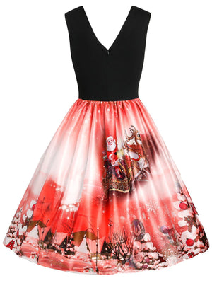 1950s Christmas Reindeer Swing Dress