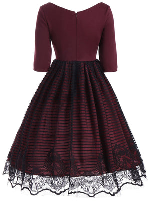 Wine Red 1950s Lace Patchwork Dress