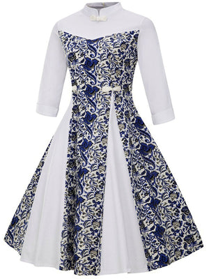 White 1950s Chinese Style Swing Dress