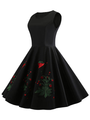 1950s Strawberry Embroidery Dress
