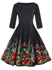 1950s Floral 3/4 Sleeve Dress