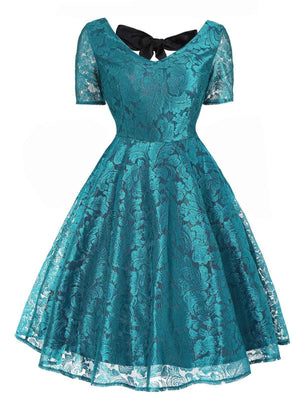 1950s Floral Back Lace Up Dress
