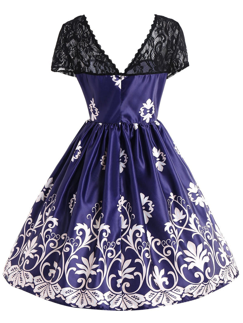 Blue 1950s Lace Patchwork Dress