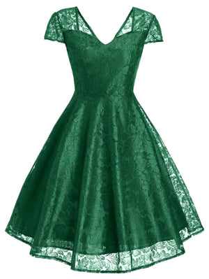 1950s Floral Lace Swing Dress