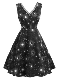 Black 1950s Night Sky Print Dress