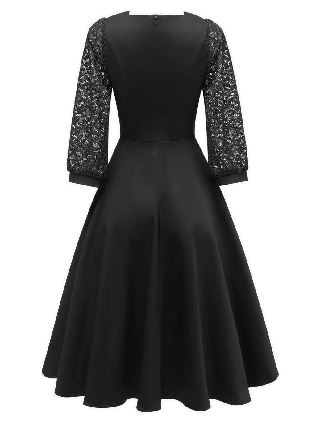 1950s Lace Patchwork Square Neck Dress