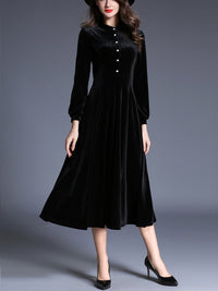 1950s Velvet Solid Pleated Dress