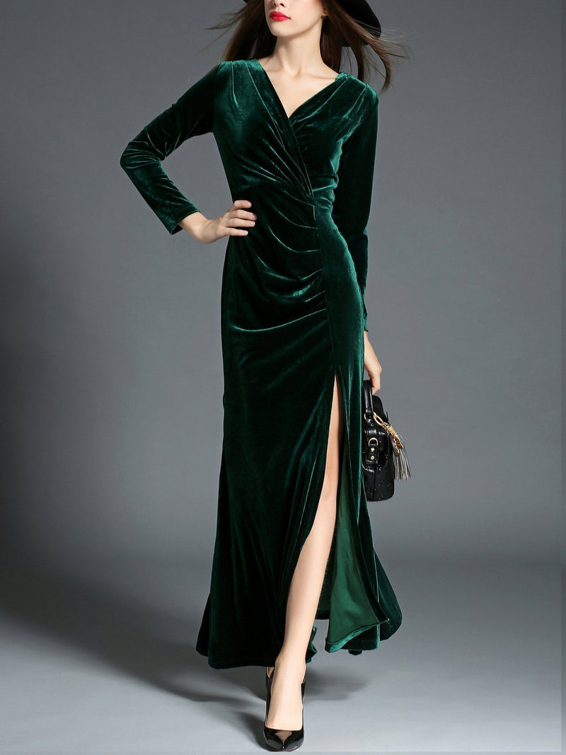 1950s Velvet Solid Wrap Dress