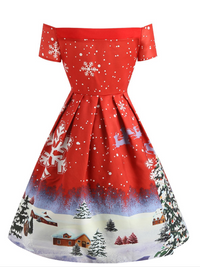 1950s Snowfall Off Shoulder Dress