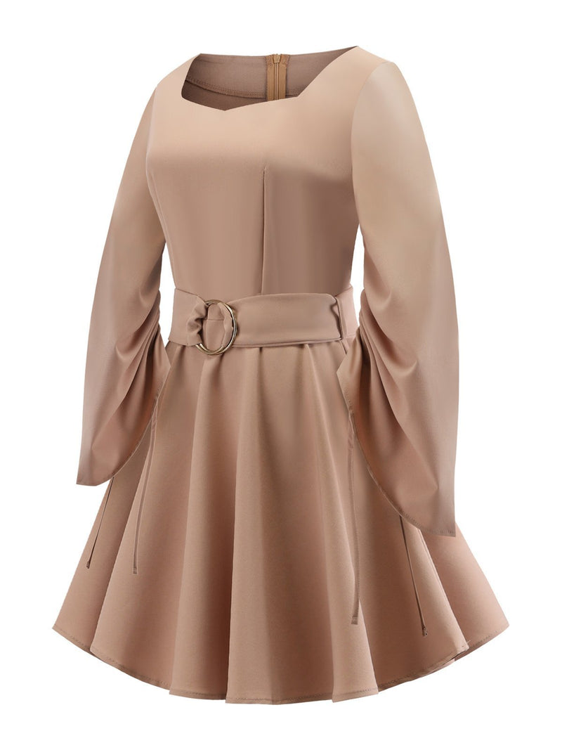 1950s Solid Square Neck Belted Dress