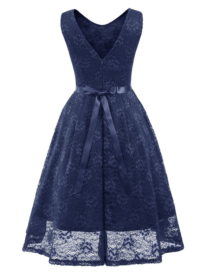 1950s Belted Lace Swing Dress
