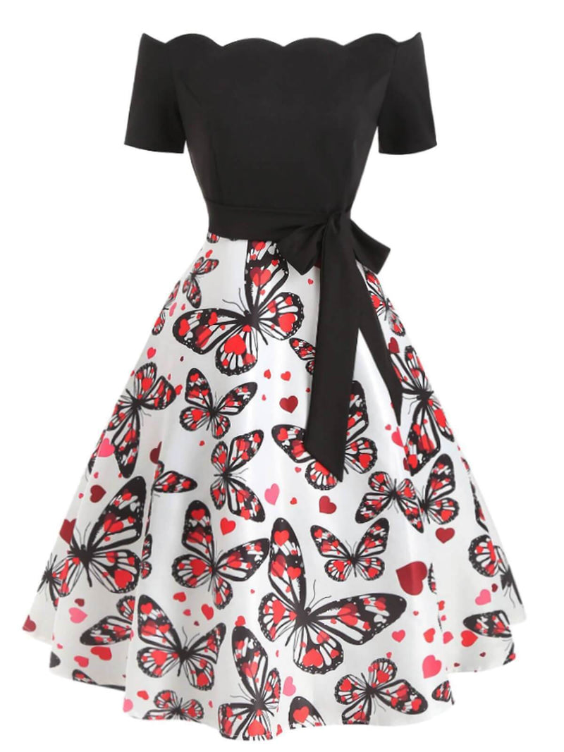 Black 1950s Butterfly Off Shoulder Dress