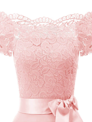 1950s Lace Off Shoulder Bow Dress