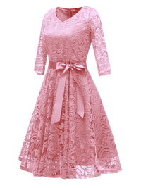 3/4 Sleeve 1950s Lace Bow Dress