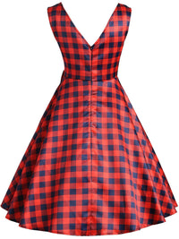 Red 1950s Plaid Bow Dress