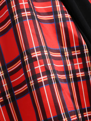 Red 1950s Plaid Patchwork Dress