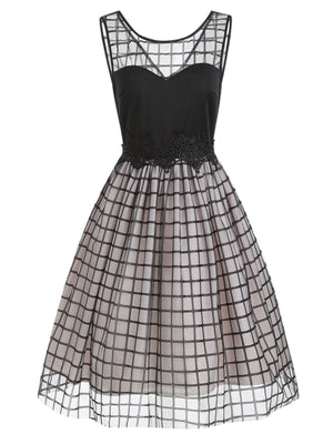 Black 1950s Plaid Mesh  Dress