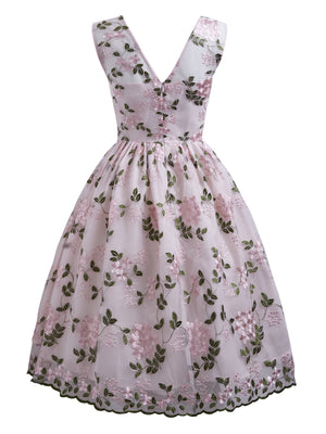 Pink 1950s Floral Embroidery Dress