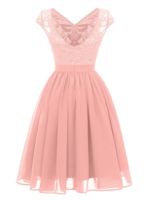 1950S Lace Patchwork Chiffon Dress