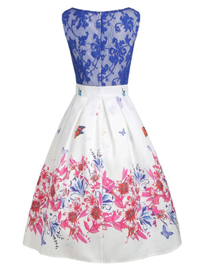 Blue 1950s Lace Butterfly Patchwork Dress