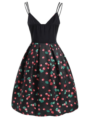 Black 1950s Cherry Spaghetti Strap Dress