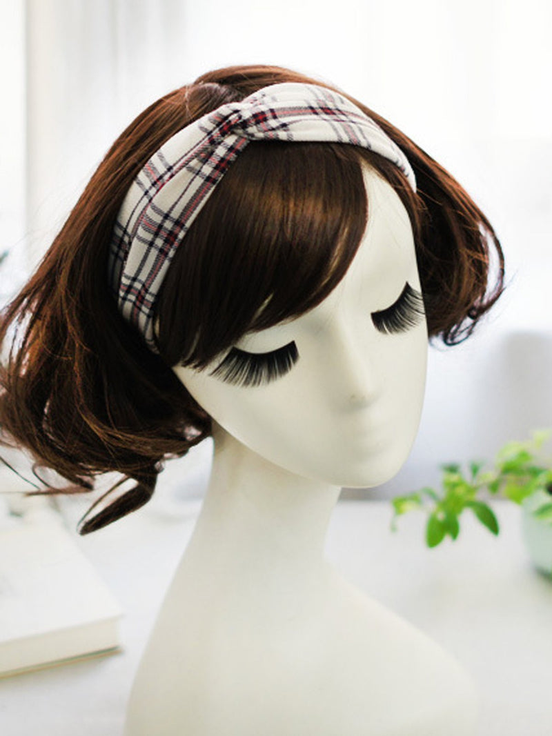 Vintage Plaid Knot Elastic Headbands