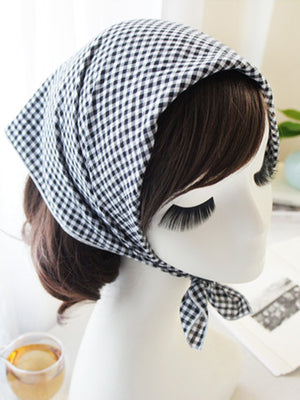 Vintage Plaid Square Scarf Headbands