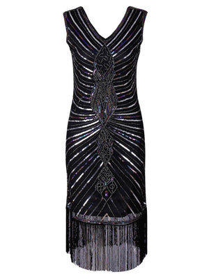 Black 1920s Sequin Fringed Party Dress